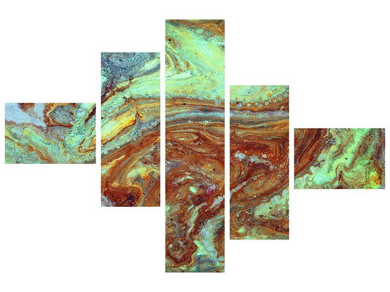 Aluminiumbild 5-teilig modern Marmor in Grün