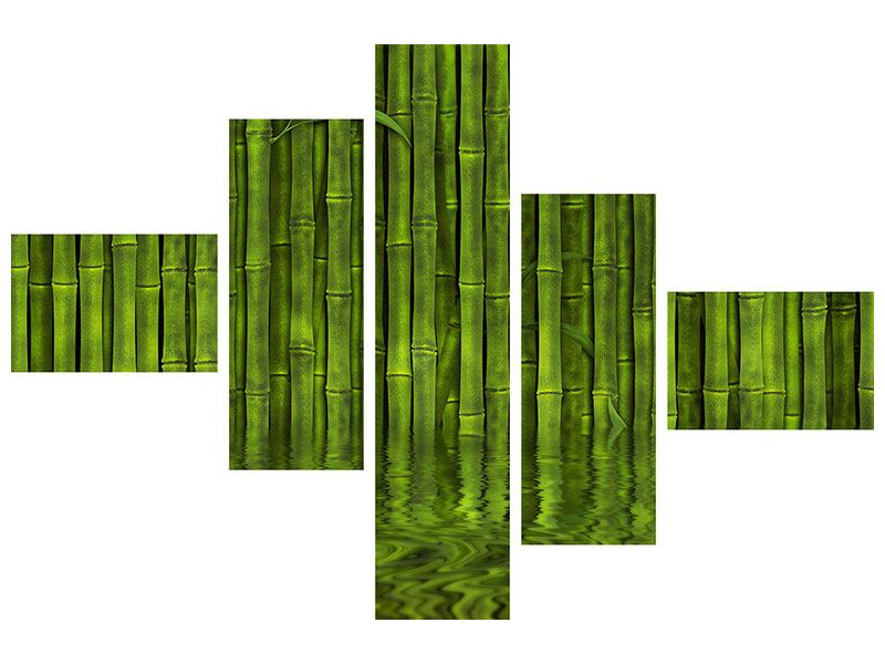 Aluminiumbild 5-teilig modern Wasserspiegelung Bambus
