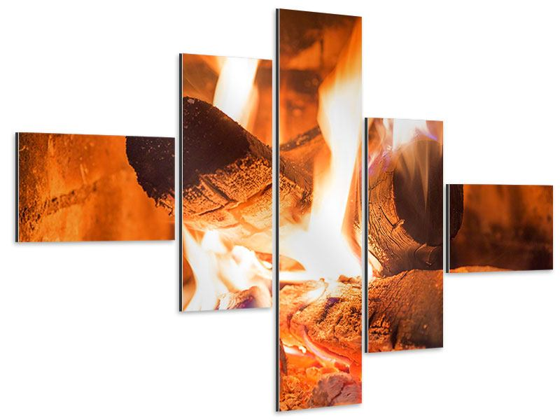 Aluminiumbild 5-teilig modern Kaminfeuer