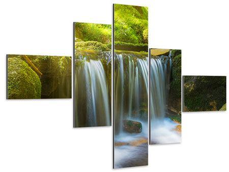 Aluminiumbild 5-teilig modern Schönheit des fallenden Wassers