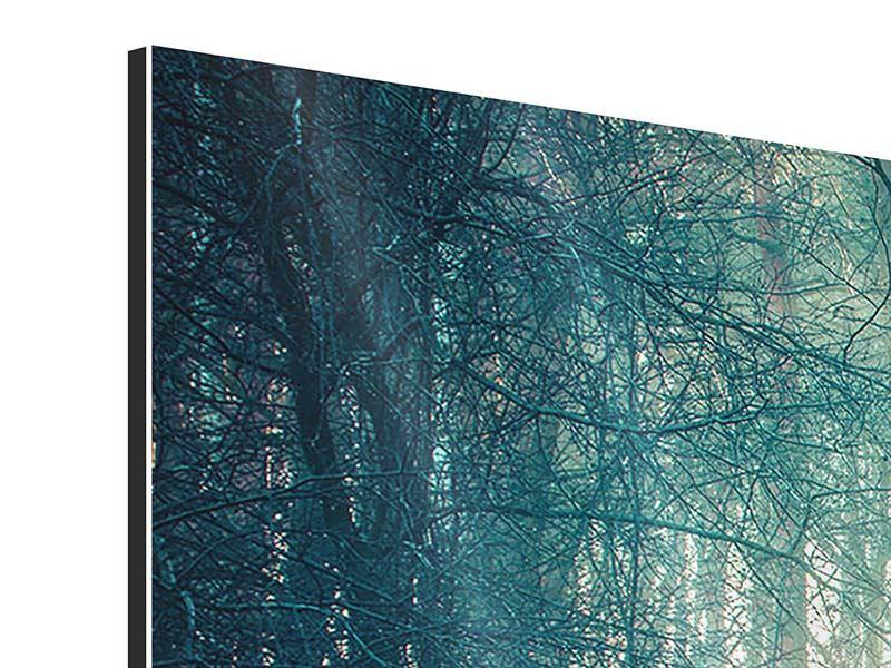 Aluminiumbild 5-teilig modern Pinienwald
