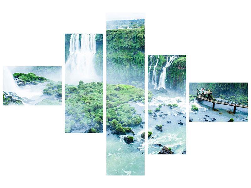 Aluminiumbild 5-teilig modern Wasserfälle