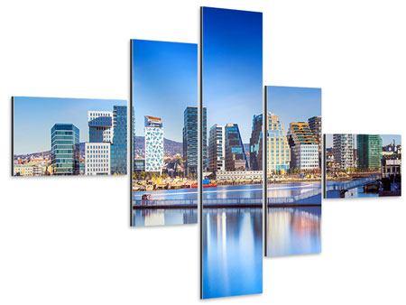 Aluminiumbild 5-teilig modern Skyline Oslo