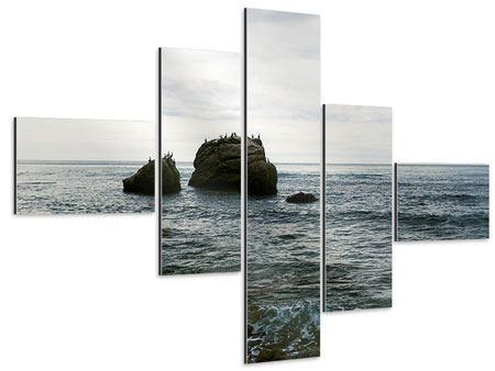Aluminiumbild 5-teilig modern Leise Wellen