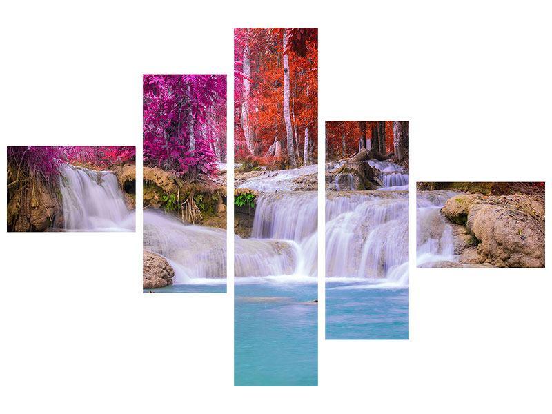 Aluminiumbild 5-teilig modern Paradiesischer Wasserfall