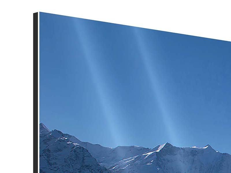 Aluminiumbild 5-teilig modern Sonnenterrasse in den Schweizer Alpen