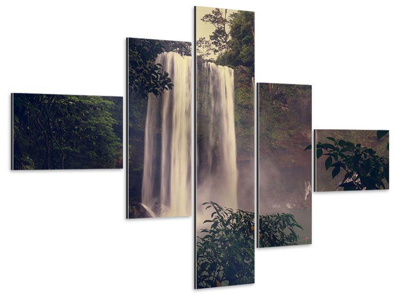 Aluminiumbild 5-teilig modern Wasserfall in Mexiko