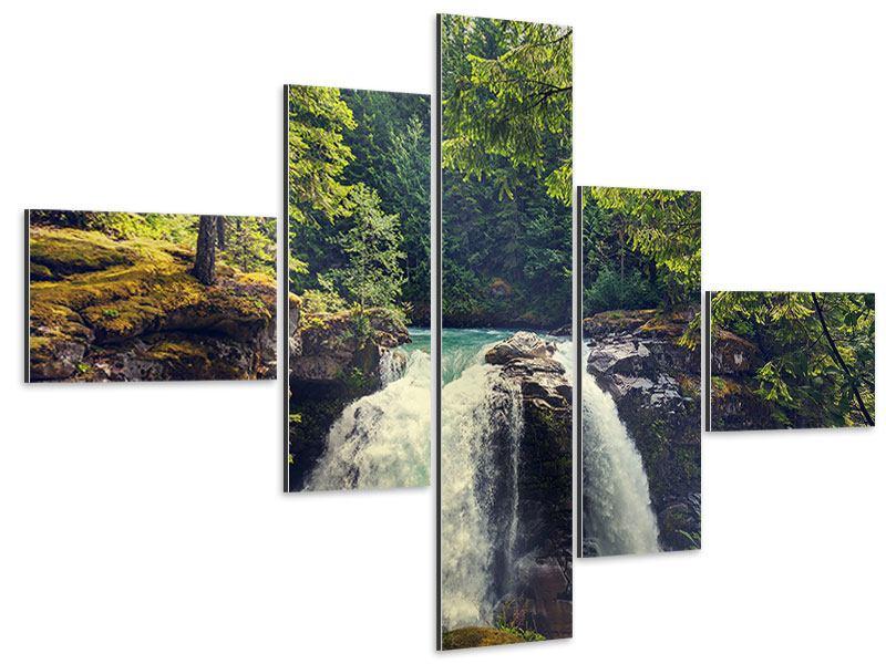 Aluminiumbild 5-teilig modern Flussströmung