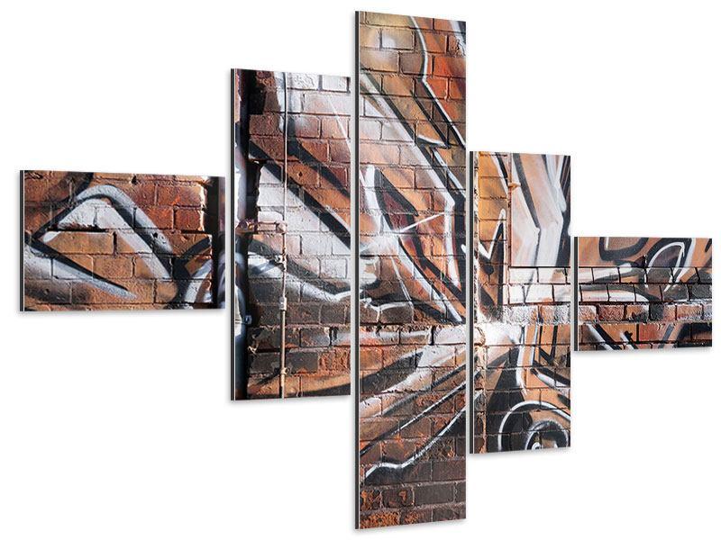 Aluminiumbild 5-teilig modern Graffiti Mauer