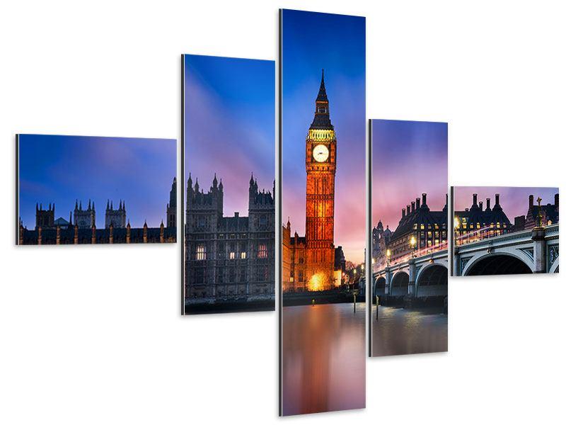Aluminiumbild 5-teilig modern Nachts am Big Ben
