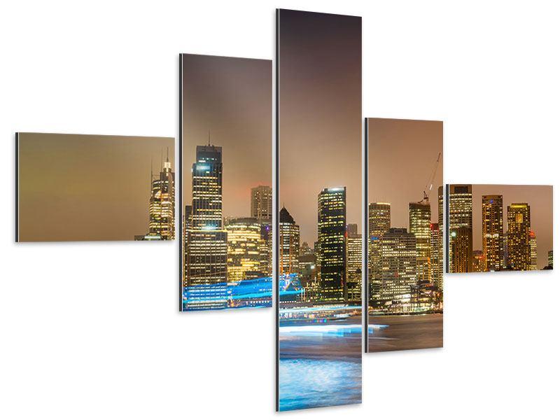 Aluminiumbild 5-teilig modern Skyline Sydney im Lichtermeer