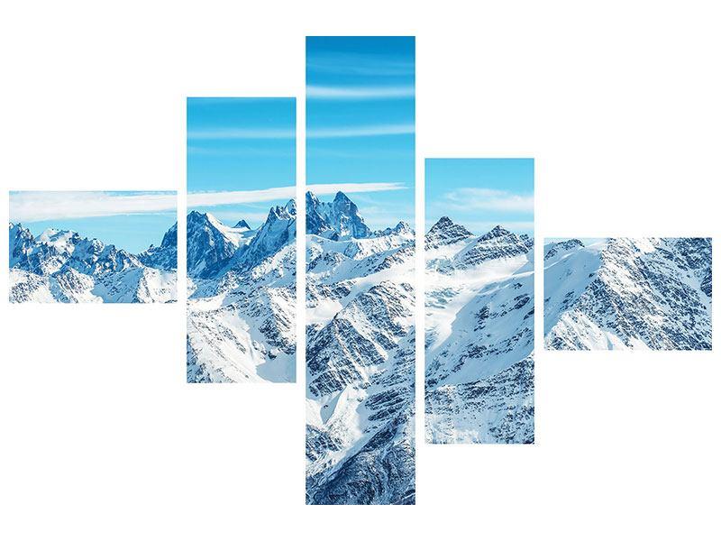 Aluminiumbild 5-teilig modern Alpenpanorama