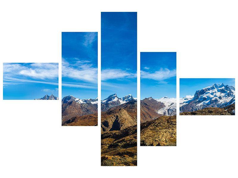 Aluminiumbild 5-teilig modern Schweizer Alpen im Frühling