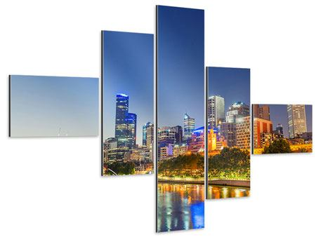 Aluminiumbild 5-teilig modern Skyline Sydney in der Abenddämmerung