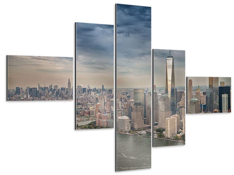 Aluminiumbild 5-teilig modern Skyline Manhattan