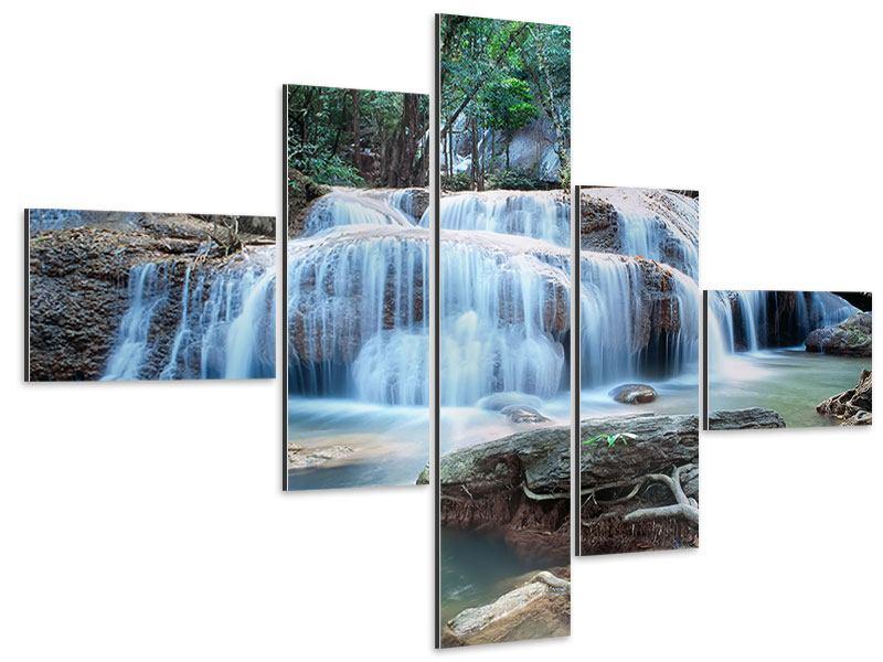 Aluminiumbild 5-teilig modern Ein Wasserfall