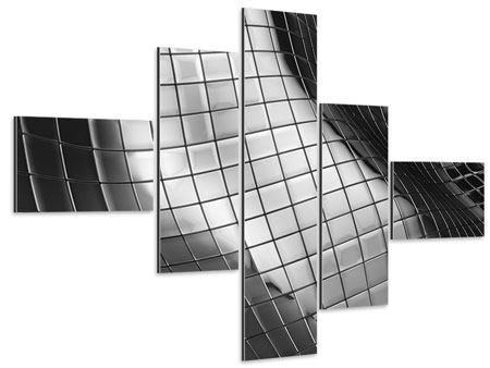 Aluminiumbild 5-teilig modern Abstrakter Stahl