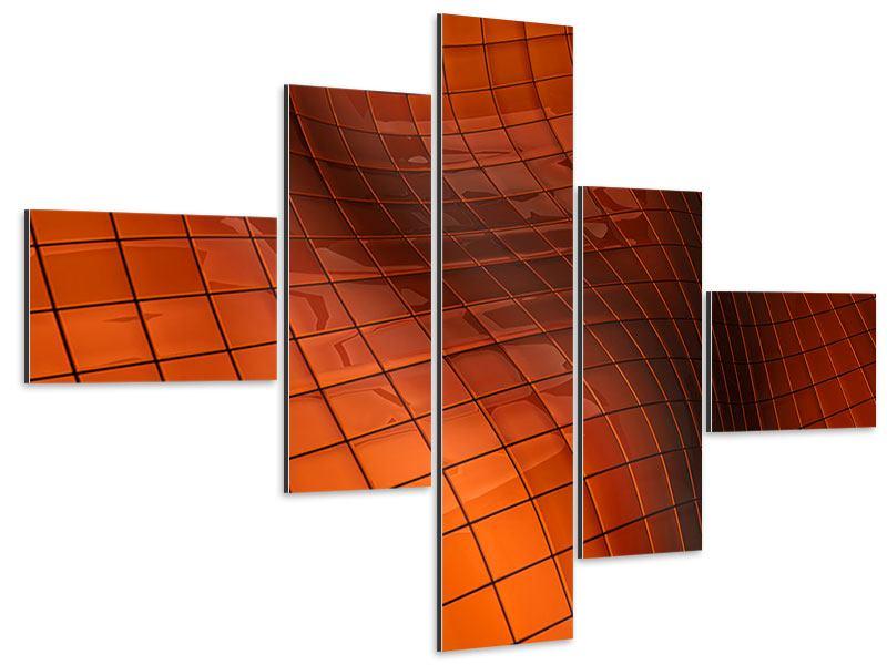 Aluminiumbild 5-teilig modern 3D-Kacheln