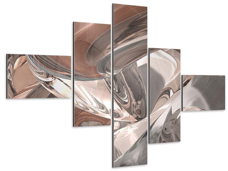 Aluminiumbild 5-teilig modern Abstraktes Glasfliessen