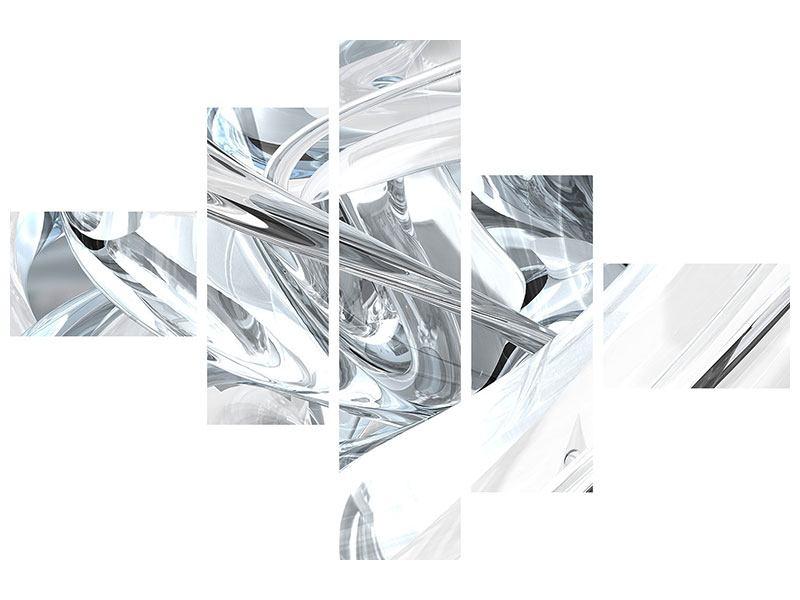 Aluminiumbild 5-teilig modern Abstrakte Glasbahnen