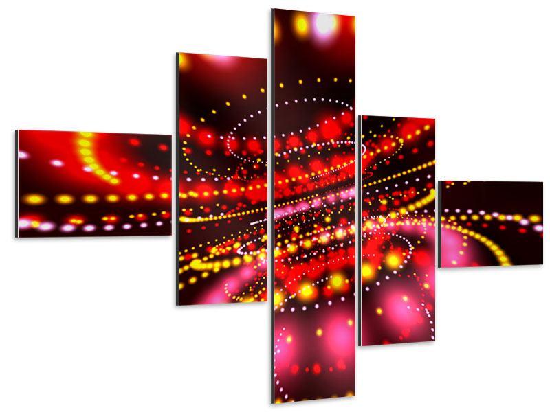 Aluminiumbild 5-teilig modern Abstraktes Lichtspiel
