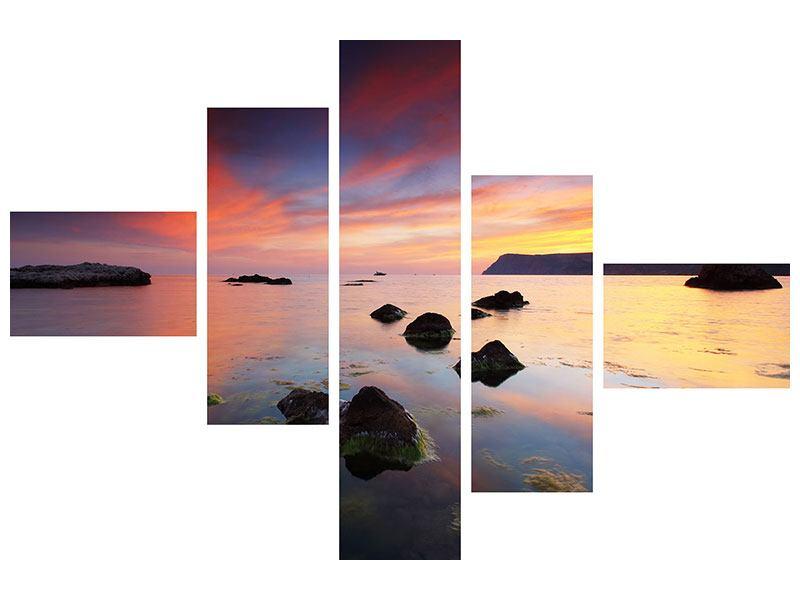 Aluminiumbild 5-teilig modern Ein Sonnenuntergang am Meer