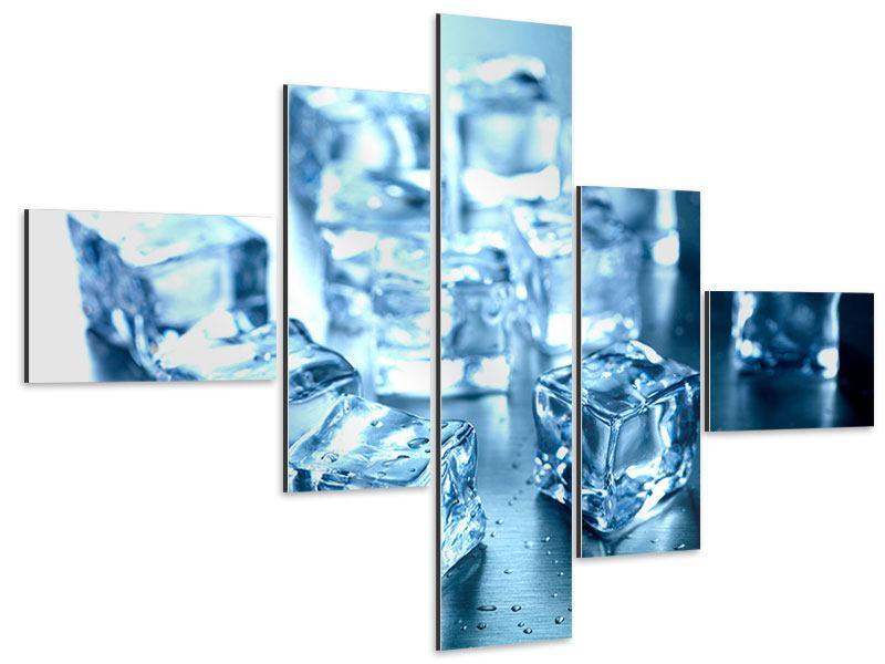 Aluminiumbild 5-teilig modern Viele Eiswürfel