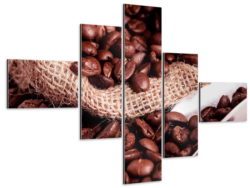 Aluminiumbild 5-teilig modern XXL Kaffeebohnen