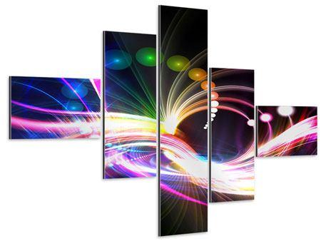 Aluminiumbild 5-teilig modern Abstrakte Lichtreflexe