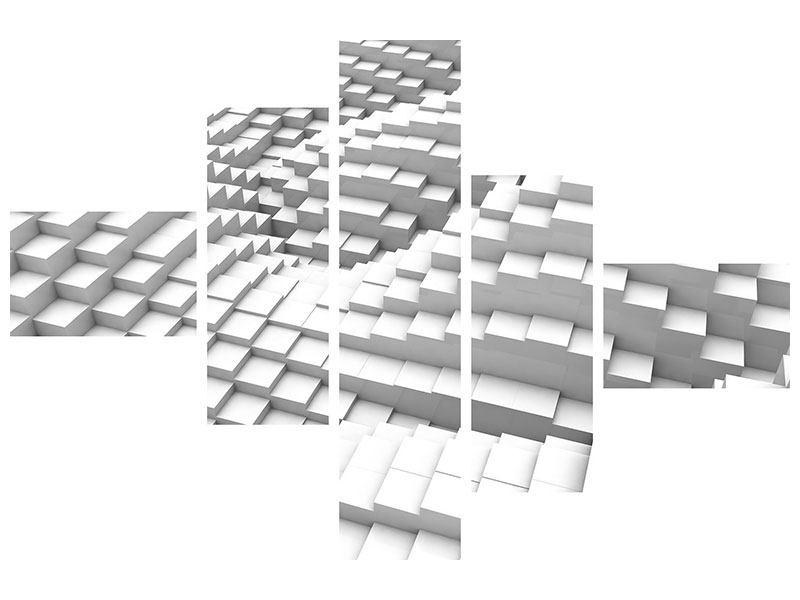 Aluminiumbild 5-teilig modern 3D-Elemente