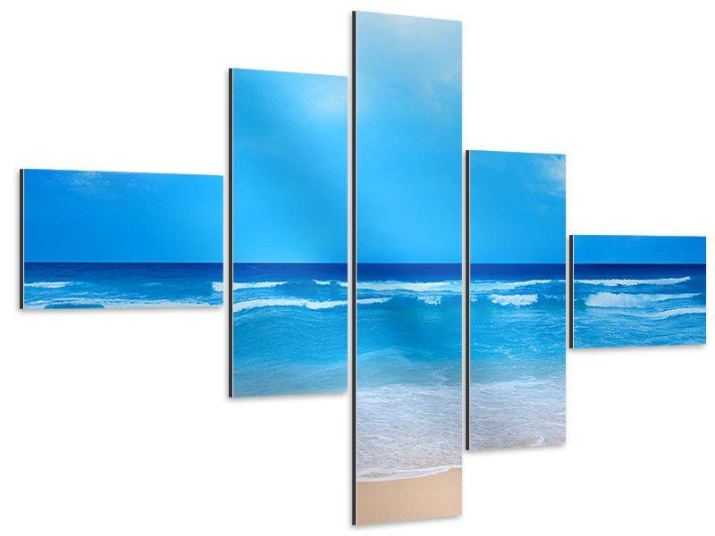 Aluminiumbild 5-teilig modern Sanfte Strandwellen