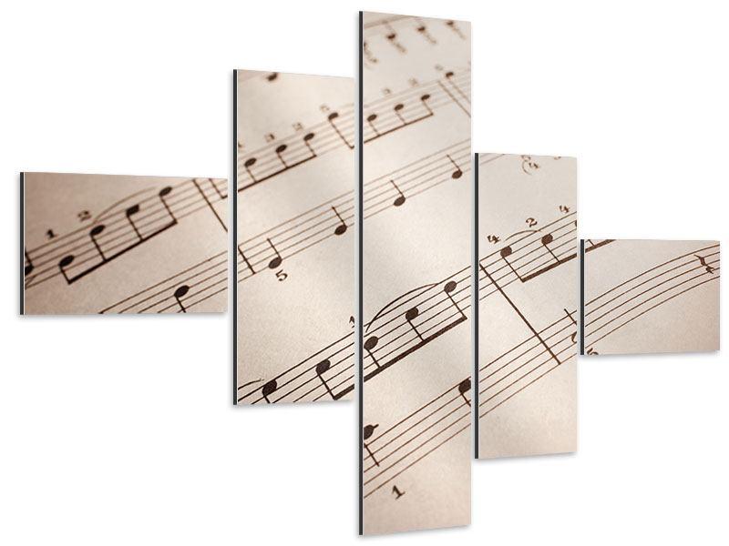 Aluminiumbild 5-teilig modern Das Notenblatt