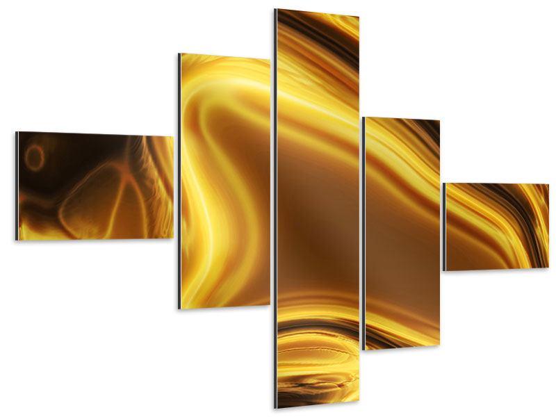 Aluminiumbild 5-teilig modern Abstrakt Flüssiges Gold