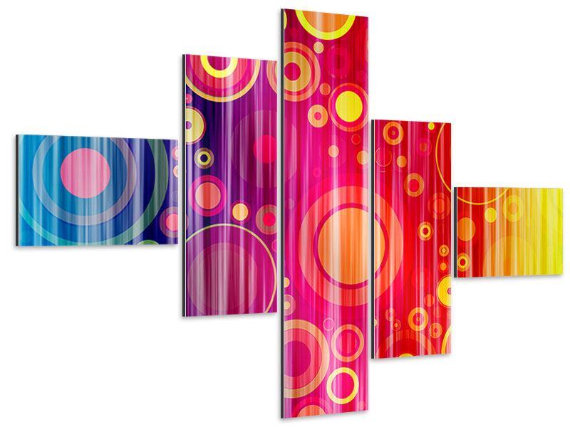 Aluminiumbild 5-teilig modern Grunge-Retrokreise