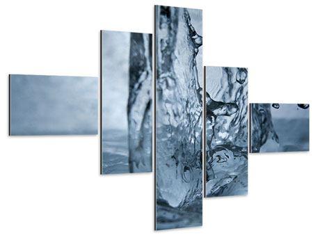 Aluminiumbild 5-teilig modern Wasserdynamik