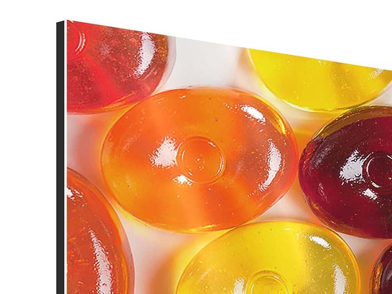 Aluminiumbild 5-teilig modern Bonbons
