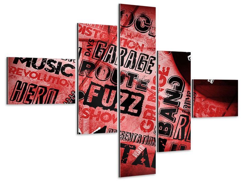 Aluminiumbild 5-teilig modern Writings Music Grunge