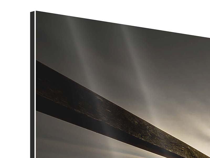 Aluminiumbild 5-teilig modern Die Holzbrücke