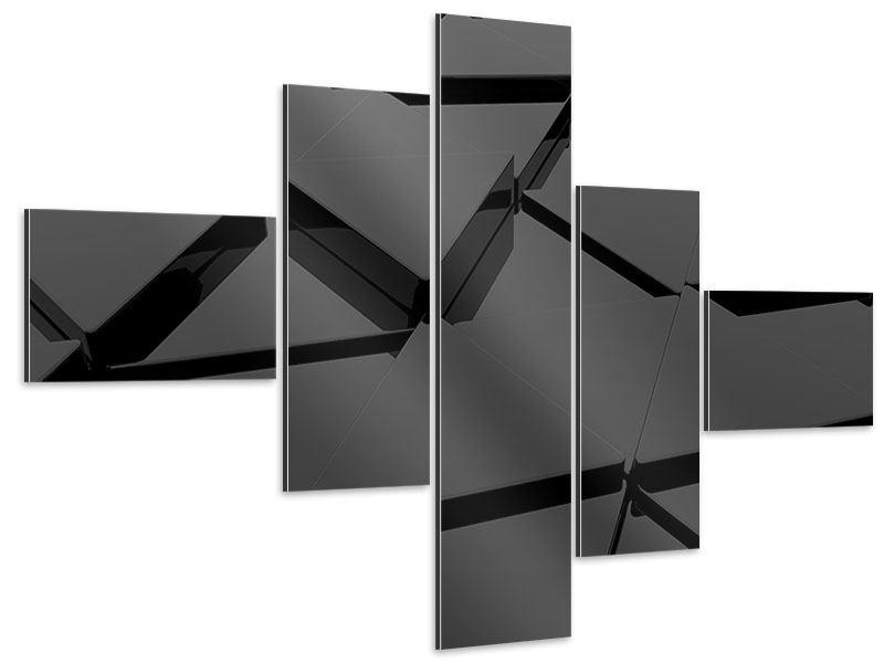 Aluminiumbild 5-teilig modern 3D-Dreiecksflächen