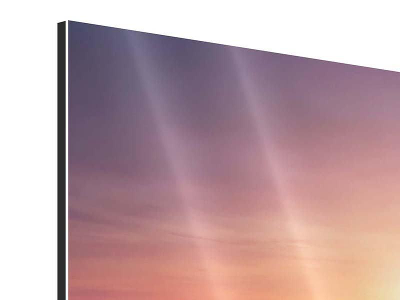 Aluminiumbild 5-teilig modern Sonnenuntergang auf See