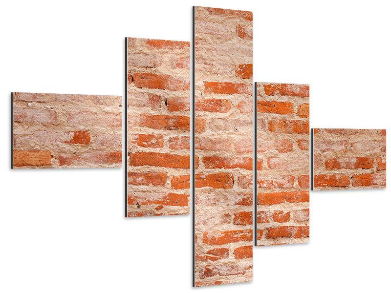 Aluminiumbild 5-teilig modern Mauerwerk