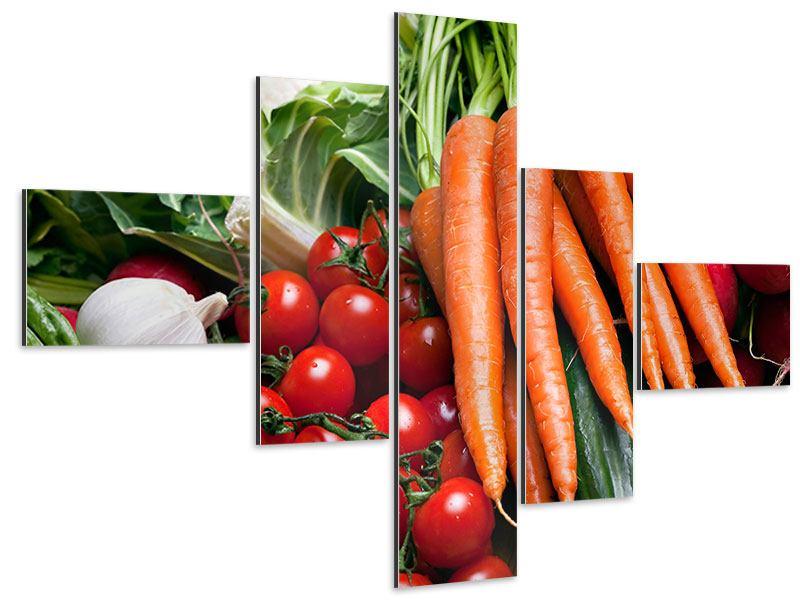 Aluminiumbild 5-teilig modern Gemüse