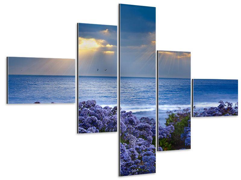 Aluminiumbild 5-teilig modern Der Lavendel und das Meer