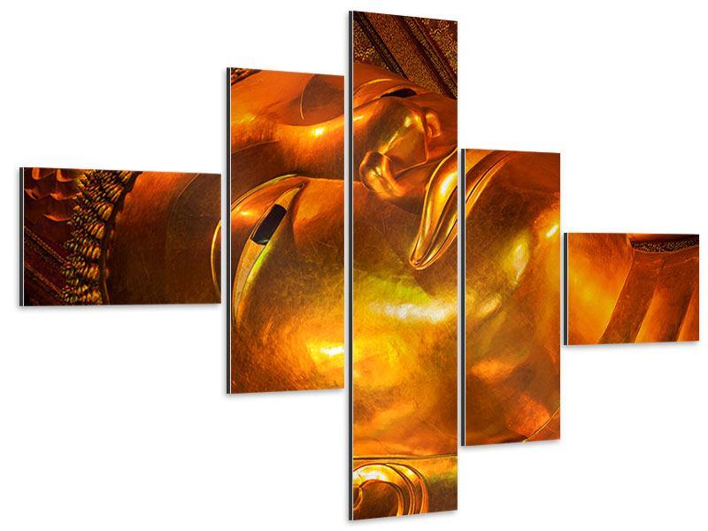 Aluminiumbild 5-teilig modern Liegender Buddha