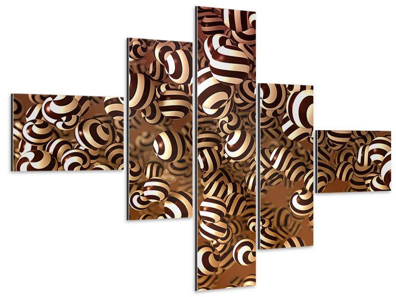 Aluminiumbild 5-teilig modern Schokoladen-Bonbons
