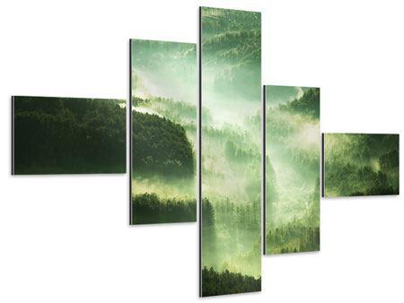 Aluminiumbild 5-teilig modern Über den Wäldern