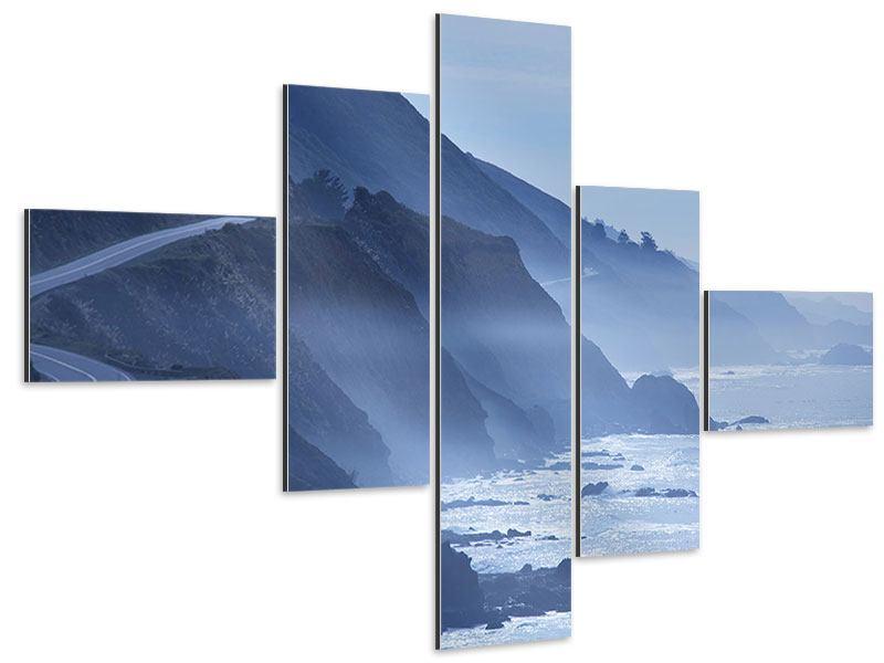 Aluminiumbild 5-teilig modern Bewegung im Wasser