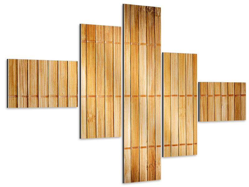 Aluminiumbild 5-teilig modern Bambusrohre