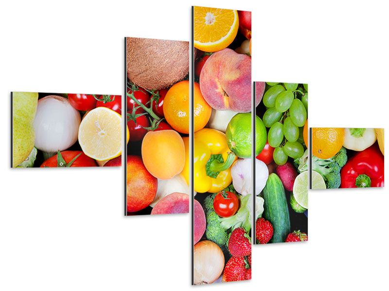 Aluminiumbild 5-teilig modern Frisches Obst