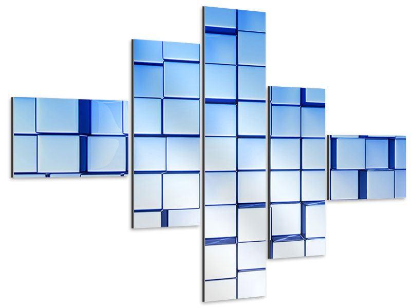 Aluminiumbild 5-teilig modern 3D-Symetrie